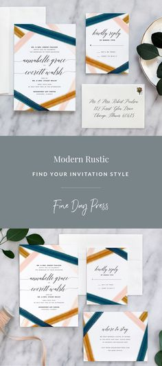 Watercolor brushstrokes in peacock, blush, and copper tones create a lovely texture on luxe cotton stock. Modern  style calligraphy adds pretty detail to this invitation suite. #rusticweddinginspiration #weddinginvitations #modernweddinginvitations #watercolorweddinginvitations #weddinginspiration #modernwedding