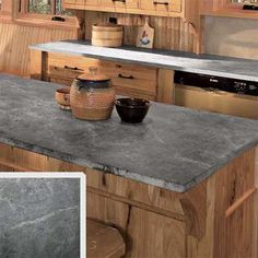 PJA: Color palette and wood and Soapstone countertops. all about stone kitchen countertops soapstone Soapstone Counters, Soapstone Kitchen, Outdoor Kitchen Countertops, Kitchen Countertop Materials, Gray Countertops, Countertop Options, Gray Kitchen Countertops, Kitchen Backsplash, Sandstone Countertops
