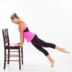Begin in a full plank position with hands on the edge of a chair seat, arms lined up directly below shoulders, feet together. Brace abs tight and point left foot. Extend left leg behind hip, and avoid letting hips sag.