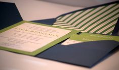 Blue and Green Bar Mitzvah Invitation/Wedding by studiorosedesign