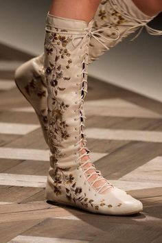 4a732adf73ba Details about Etro RUNWAY RARE Artistic Floral Embroidered Leather Lace-Up  Boots Size IT36