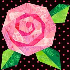 Rosie's Rose Paper Pieced Quilt Block Pattern  Cute idea for alittle girl's quilt.  Pattern available.