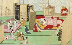 """A Visit to the Yoshiwara,"" detail, attributed to Hishikawa Moronobu"