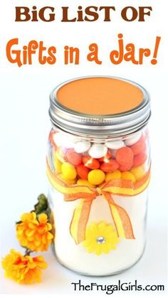 "BIG List of Gifts in a Jar at TheFrugalGirls.com #giftsinajar Jar Gifts Gifts in a Jar ""#giftsinajar Jar Gifts Gifts in a Jar  """
