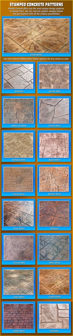 Stamped Concrete. This is really great. Would love to have a patio or driveway like this!