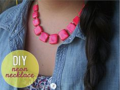 neonnecklacediy by thestyledossier, via Flickr  DIY Neon necklace made with Sculpey clay