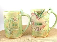 Personalized His and Hers Ceramic Mugs by Blue Sky Pottery | Hatch.co