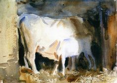 At Siena: A Cow and a Calf in a Stall (John Singer Sargent) 1910