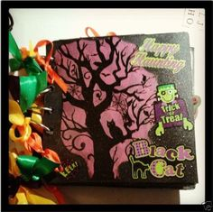 Halloween Themed Chipboard Covered, 5-Ring Bound, Paperbag Mini Album!