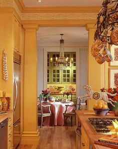 Mary Douglas Drysdale beautiful yellow kitchen Love this yellow kitchen