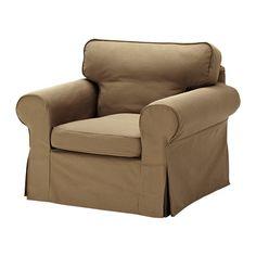 "Ektorp chair in Idemo light brown, $350.00 Depth: 34 5/8 "" Seat depth: 21 1/4 "" Height: 34 5/8 "" Width: 41 """