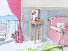 Sail Boat Ocean Seascape Interior Drawing by Elena Belyaeva #interior #drawing #art #artist #ocean #luxury #beautifulview #beautifulroom #design #roomdesign #pink