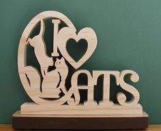 I Love Cats Desk Sign Cut On Scroll Saw by DukesScrollSaw on Etsy