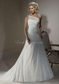 Chiffon A-Line Natural Waist Sleeveless Floor-Length Wedding Dress With Ruching & Beading ldRY1930 $299.99 Wedding Dresses 2014