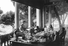 rolling stones 1970, breakfast at keith richards home villa nellcote in the southern part of france. in pic are among others, keith - gram parsons - anita pallenberg etc.