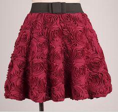 High Quality Flower Skirt, Skirts, Women Skirts, Burgundy