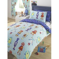 This robot duvet is so cute & comes in full & twin for the bunk beds