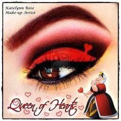 Disney Villains Queen of Hearts eye make up Disney Villains Makeup, Disney Eye Makeup, Disney Inspired Makeup, Makeup Art, Beauty Makeup, Makeup Eyeshadow, Eyeliner, Make Up Designs, Art Designs