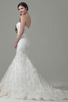 Fabulous Trumpet-Mermaid Sweetheart Train Lace Ivory Sleeveless Lace Up-Corset Wedding Dress with Appliques CWLT14036 #weddingdress #weddingdress2016 #cocomelody