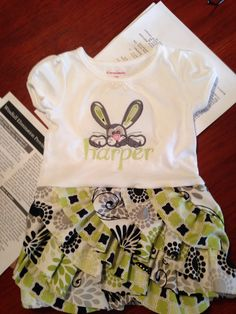 Harper's adorable T-shirt dress.  Made by Linda with the FLUFFY RUFFLE pattern.