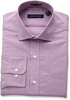 Tommy Hilfiger Mens Non Iron Regular Fit Micro Check Spread Collar Dress Shirt  #shirts #dress #mensshirt #clothing #fashion #formalshirt