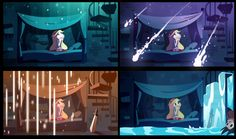 Multiple different versions of Star's room that depend on the day. Pretty!