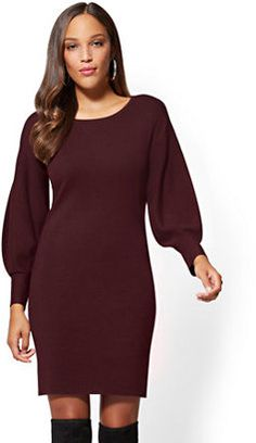 New York & Co. Balloon-Sleeve Sweater Dress #ad