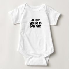 shark baby bodysuit - funny quote quotes memes lol customize cyo