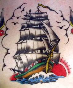 sailor jerry ship tattoo - Google Search