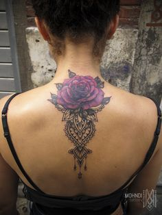 Mohndi tattoo // Purple rose + Ornamental mehndi inspiration // COVER UP // Bruxelles - Brussels / Belgique - Belgium