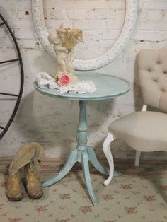 Cottage Chic Shabby Aqua Round Side Table  teapot with flowers in it