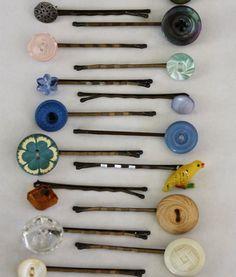 #DIY #Vintage Button Bobby Pins http://frsky.me/16XvE32 #hair