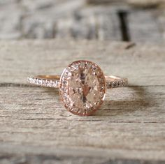 1.35 Cts. Champagne Peach Sapphire Diamond Halo Ring in 14K Rose Gold
