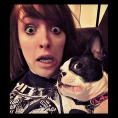 Boston Terrier and Owner with the same expressions, priceless ; )