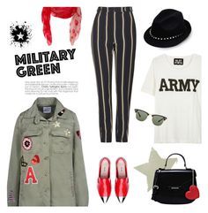 """""""Attention! Go Army Green"""" by theoni2009 ❤ liked on Polyvore featuring Alexander McQueen, George J. Love, Topshop, NLST, Love Moschino, Valentino, Ray-Ban and Gogreen"""