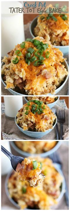 Pot Tater Tot Egg Bake ~ Overnight Crock Pot Egg Bake Stuffed with Tater Tots, Canadian Bacon, Eggs & Cheese!Crock Pot Tater Tot Egg Bake ~ Overnight Crock Pot Egg Bake Stuffed with Tater Tots, Canadian Bacon, Eggs & Cheese! Crock Pot Food, Crock Pot Slow Cooker, Slow Cooker Recipes, Cooking Recipes, Crockpot Breakfast Casserole, Breakfast Crockpot Recipes, Brunch Recipes, Crockpot Egg Bake, Overnight Crockpot Breakfast