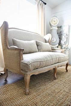 Farmhouse Settee   Burlap And Natural Fiber Sofa Perfect For A Farmhouse  Living Room. Click