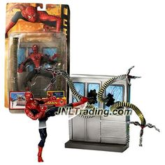 Toy Biz Year 2004 Marvel Spider-Man 2 Movie Series 6 Inch Tall Figure - SPIN & KICK SPIDER-MAN with Subway Accessory and Doc Ock's Tentacles