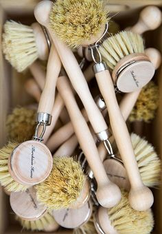 Max is all about having the right tool for the job. She uses these natural-bristle dish brushes to give even china and glassware a good scrubbing.