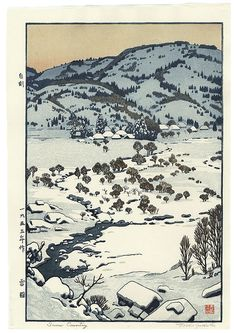 """Snow Country"", 1955 by Toshi Yoshida (1911 - 1995); Japanese woodblock print #japan #art #japanese #snow #beautiful"