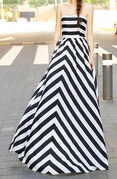 Strapless chevron print dress