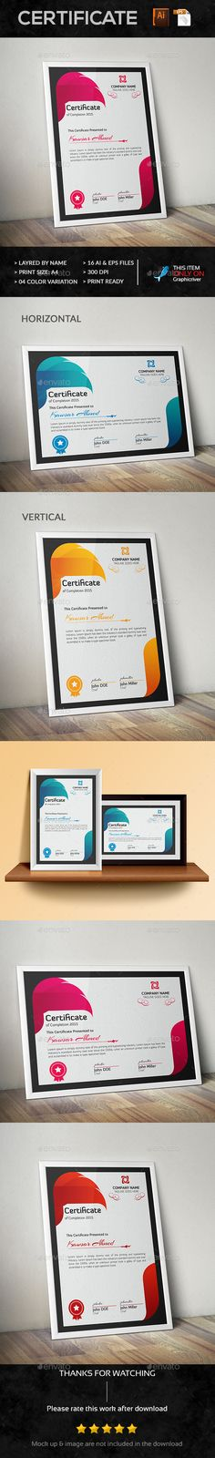 Certificate - Certificate Template Vector EPS, Vector AI. Download here: http://graphicriver.net/item/certificate/14297188?s_rank=78&ref=yinkira