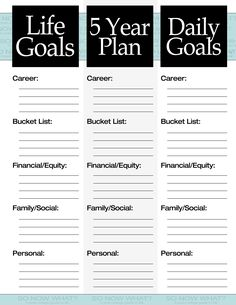 5 year plan blank