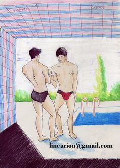 pool conversation crayons on paper,21x30cm http://pixels.com/featured/pool-conversation-line-arion.html