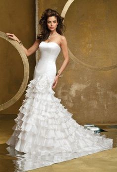 Satin Mermaid Wedding Dress with Organza Tiers from Camille La Vie and Group USA