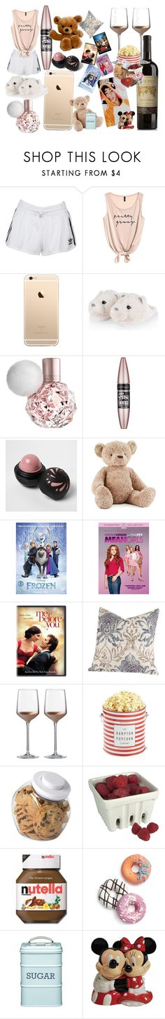 """""""Movie Date night with Calum"""" by a-bb-ie ❤ liked on Polyvore featuring adidas Originals, Maybelline, River Island, Jellycat, Disney, Coleman, HIDE, SIScovers, Wedgwood and OXO"""