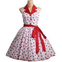 1950s White Dress with Red Strawberry Print (TD-042), Fashion, Clothing, Shoes on sale at CQout Online Auctions