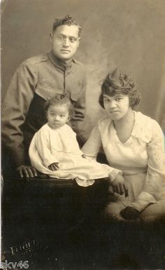 Vtg WWI African American Black Soldier Family Real Photo Post Card
