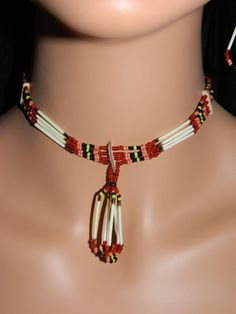 Native American Handmade Quill and Beaded Necklace and Earring Set in Earth Colors Beaded Choker, Beaded Earrings, Etsy Earrings, Beading Patterns Free, Beading Ideas, Native Beadwork, Bead Necklaces, African Jewelry, Pony Beads