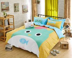 Auvoau Yellow Blue Polka Dot Fish Animals Soft Kids Boys Girls Bedding Sets Full without comforter >>> Check out the image by visiting the link. Kids Comforter Sets, Blue Bedding Sets, Girls Bedding Sets, Grey Bedding, Cozy Room, Comfortable Sofa, Duvet Cover Sets, Cover Pillow, Bedroom Colors